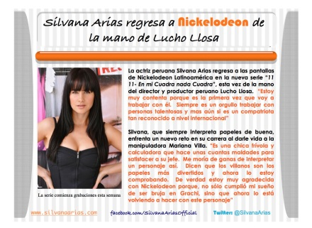 Silvana Arias regresa a Nickelodeon