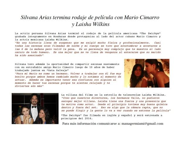 Silvana Arias protagoniza pelicula con Mario Cimarro y Laisha Wilkins