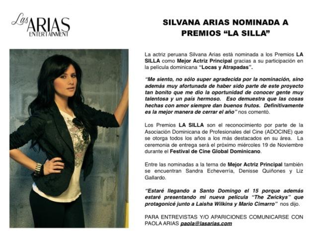 Silvana Arias nominada Premios LA SILLA